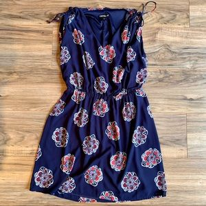 EXPRESS Tie Sleeve Patterned Navy Dress - Medium